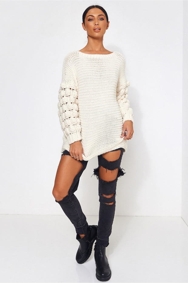 White Pom Sleeve Jumper