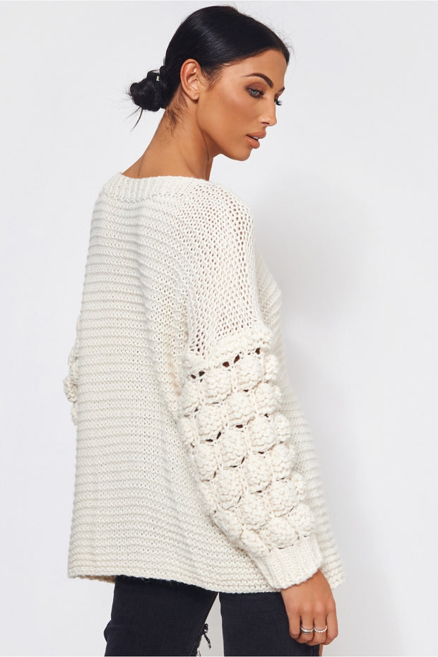 Alessa Chunky Knit Oversized White Jumper