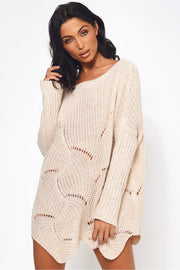 Eloise Beige Ribbed Sleeve Jumper