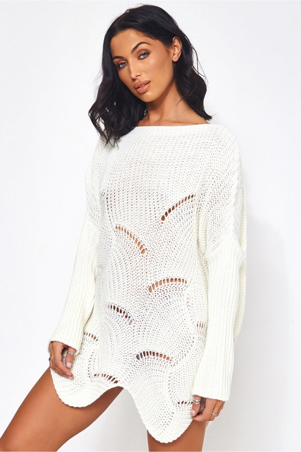 Eloise White Ribbed Sleeve Jumper