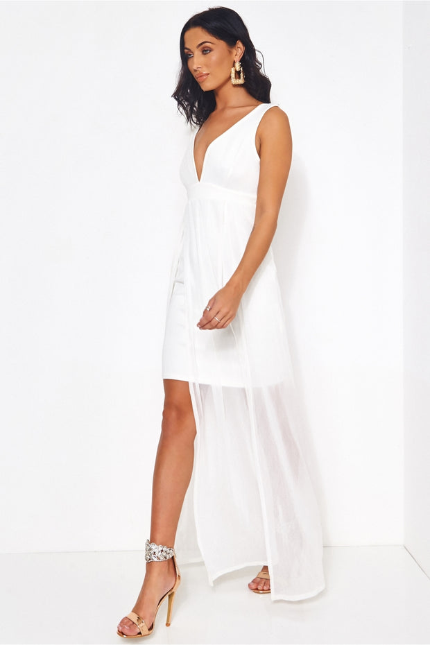 Viva White Chiffon Draped Maxi Dress