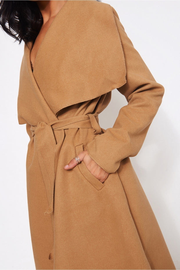 Khloe Camel Waterfall Coat