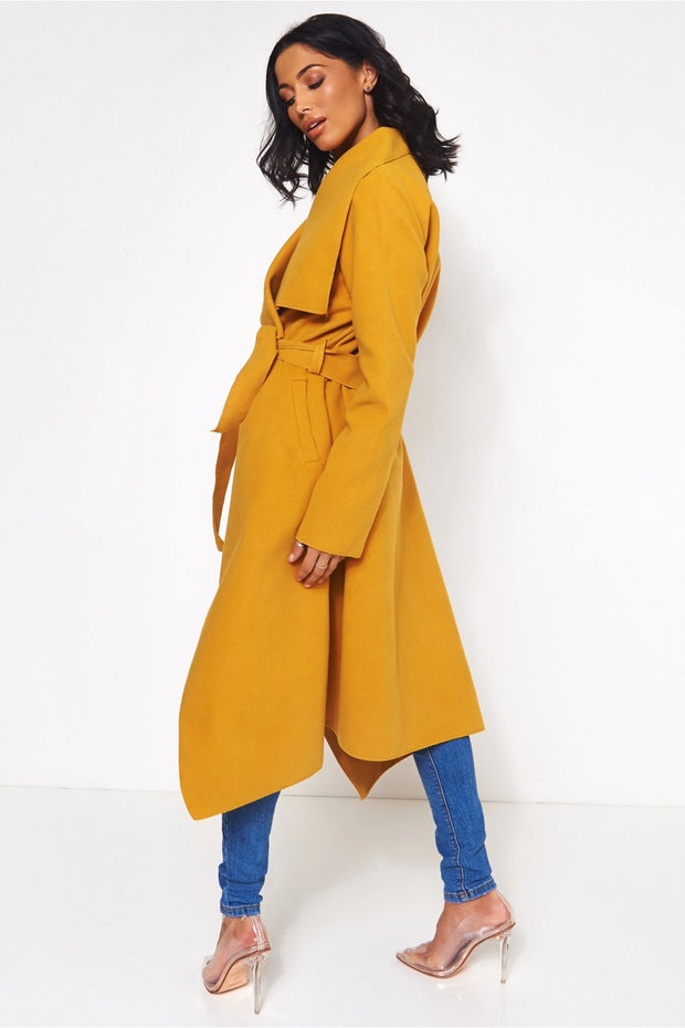 Khloe Mustard Waterfall Coat
