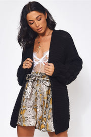 Alessa Chunky Knit Oversized Black Pom Sleeve Cardigan