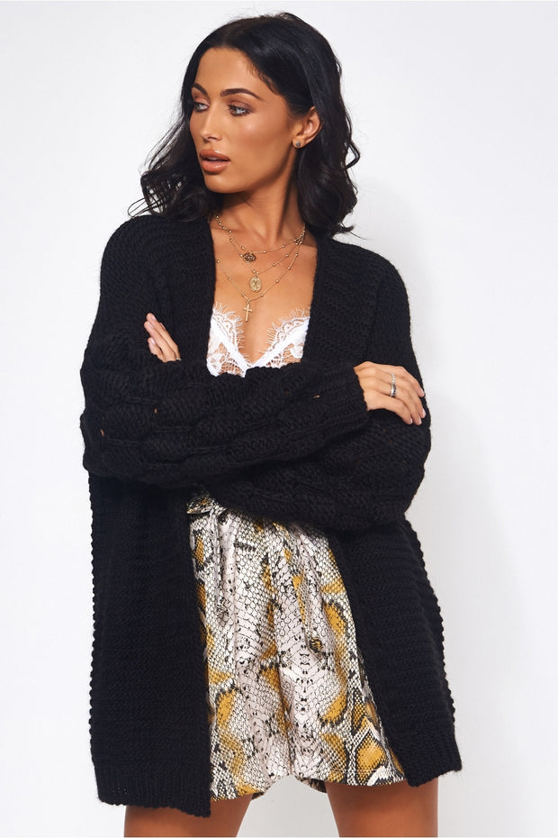 Alessa Black Pom Sleeve Cardigan