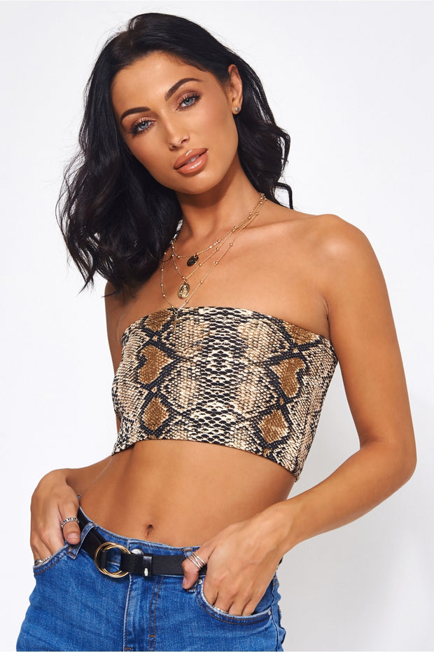 Brown Snakeskin Bandeau Top
