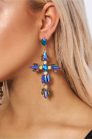 Cosmic Holographic Jewelled Cross Earrings
