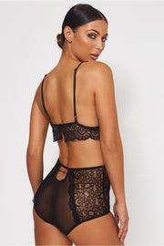 Black High Waisted Lace Lingerie Set