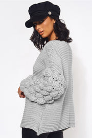 Grey Chunky Knit Oversized Jumper