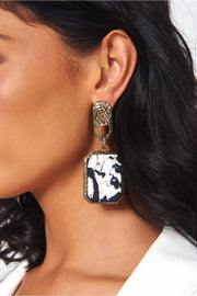 Gigi Gold Marble Earrings