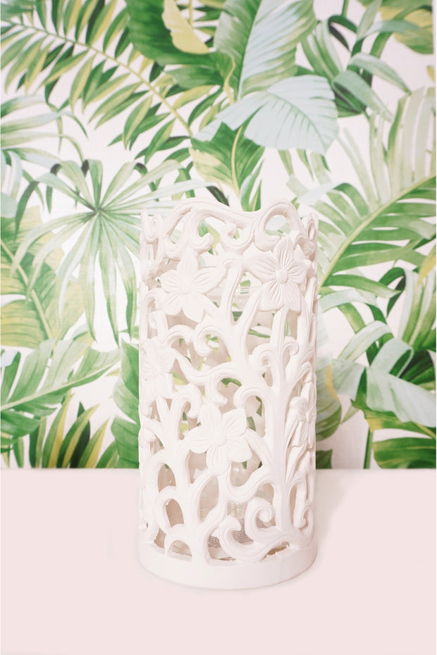White Floral Candle Holder