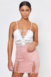 Pink Suede Lace Up Mini Skirt