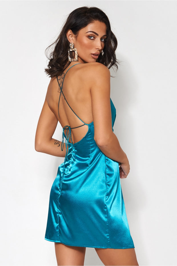 Eve Teal Satin Mini Dress