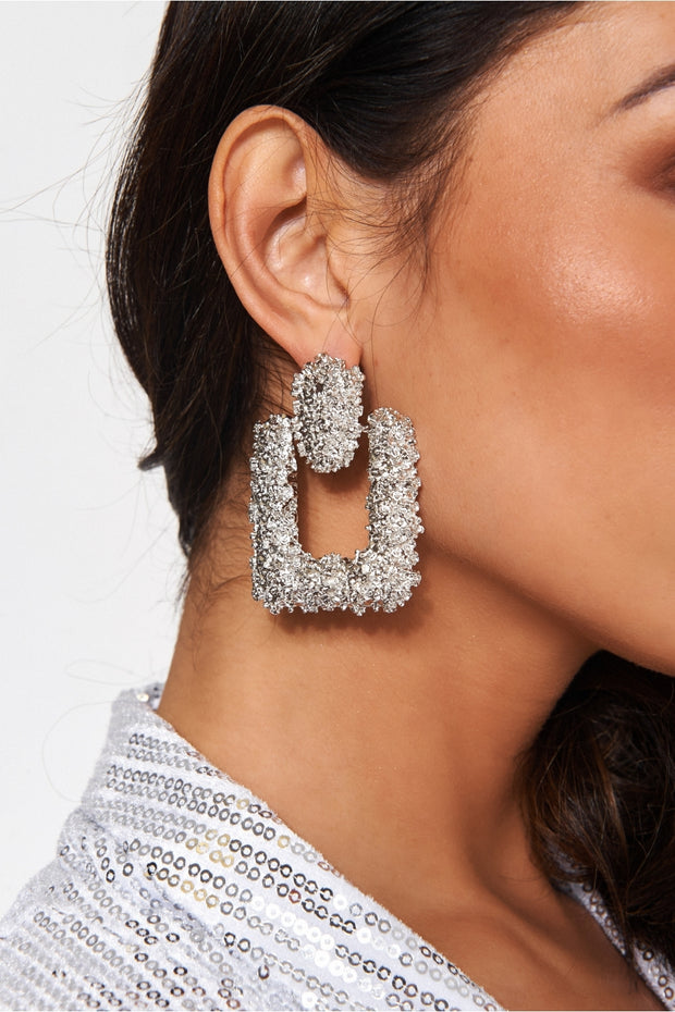 Diablo Silver Statement Earrings