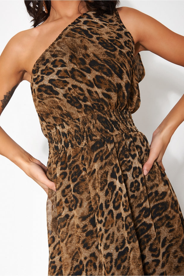 One Shoulder Brown Leopard Print Jumpsuit