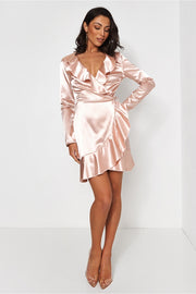 Saira Pink Satin Frill Dress