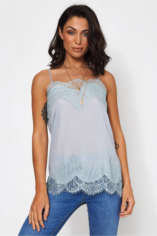 Isa Grey Lace Camisole Top