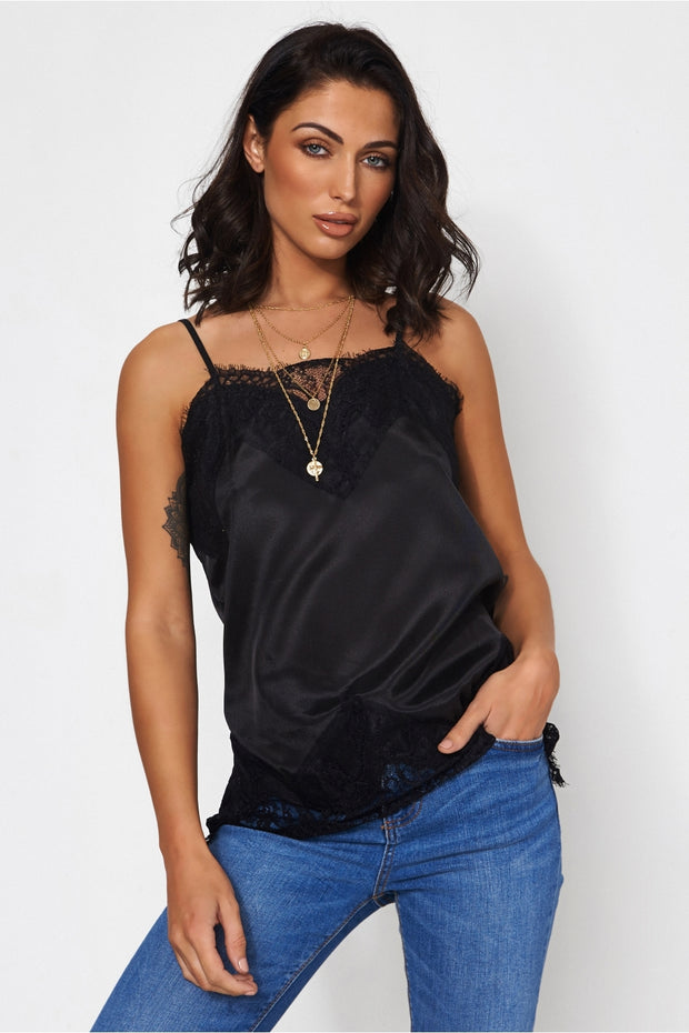 Isa Black Lace Camisole Top