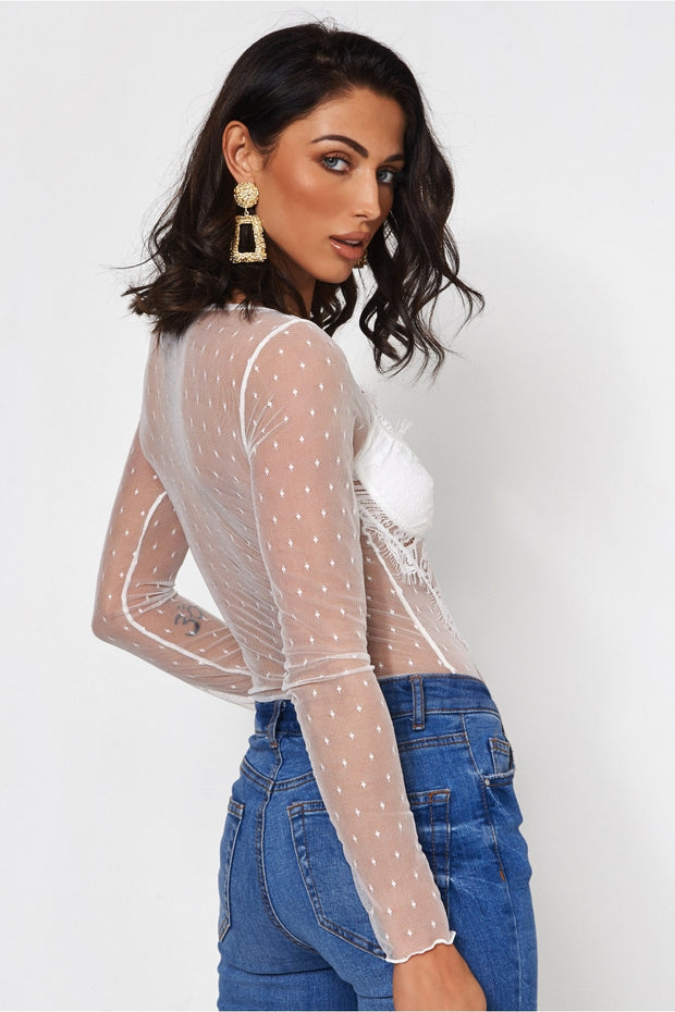 Coco White Lace Bodysuit