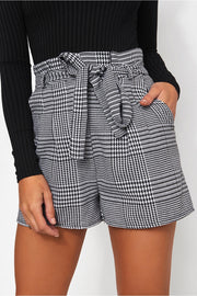 Black & White Check Print Paper Bag Shorts