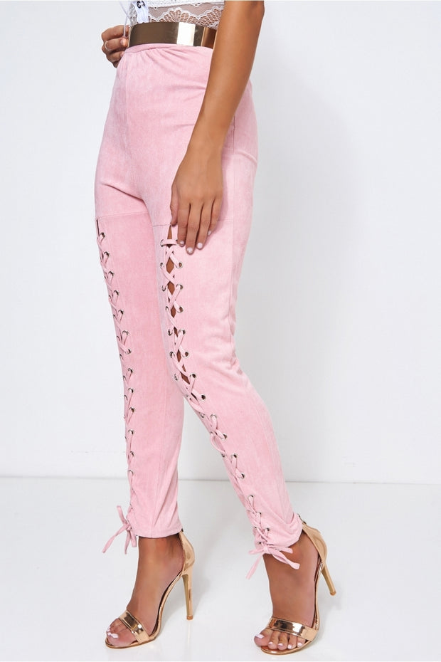 Limited Edition Pink Suede Lace Up Trousers