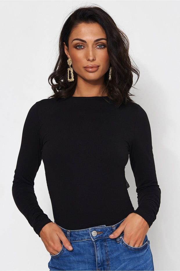 Black Backless Lace Bodysuit