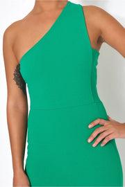 Grace Green One Shoulder Midi Dress