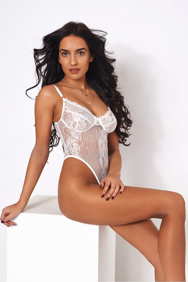 Lola High Rise White Lace Bodysuit