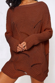 Eloise Rust Ribbed Sleeve Jumper