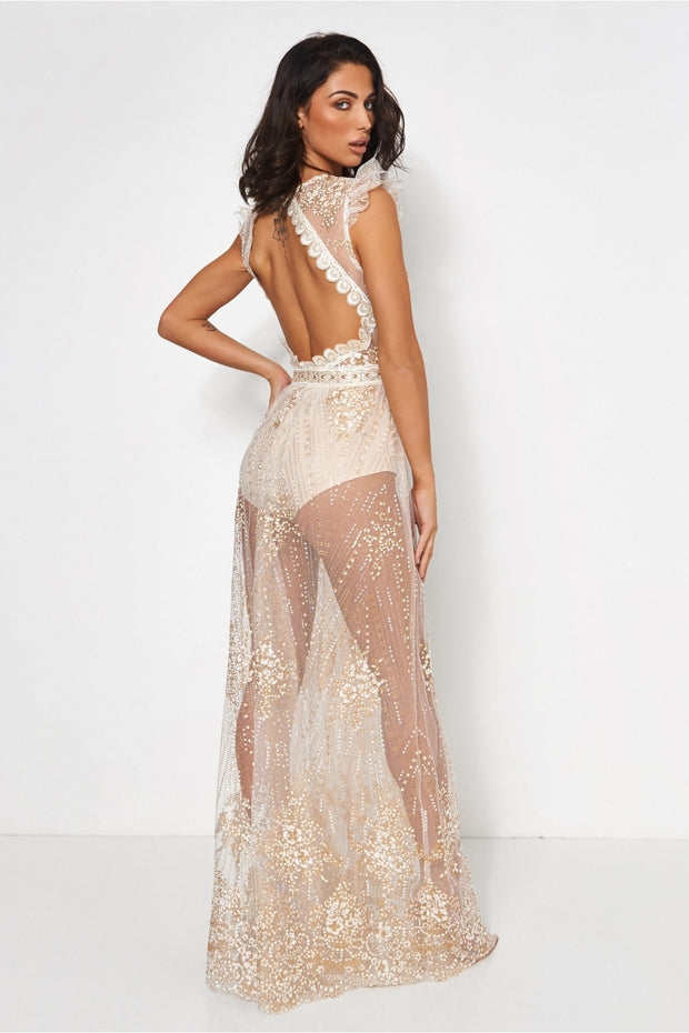 Limited Edition Gold Backless Glitter Maxi Dress
