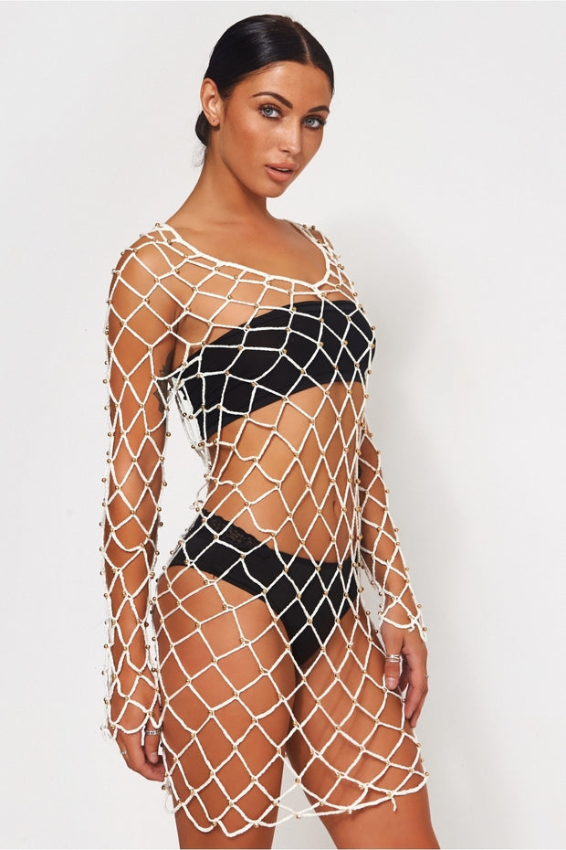 White Crochet Beaded Cover Up