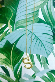 Gold Bamboo Initial Icon Necklace