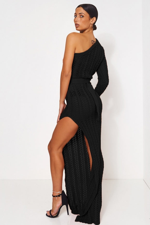 Shalini Black One Shoulder Maxi Dress