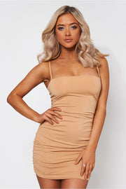 Mya Beige Ruched Bodycon Dress