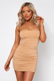 Amalfi Beige Ruched Bodycon Dress
