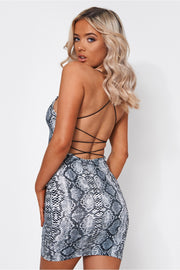 Capri Grey Snakeskin Backless Bodycon Dress