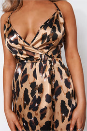 Leopard Print Wrap Detail Slip Cami Mini Dress
