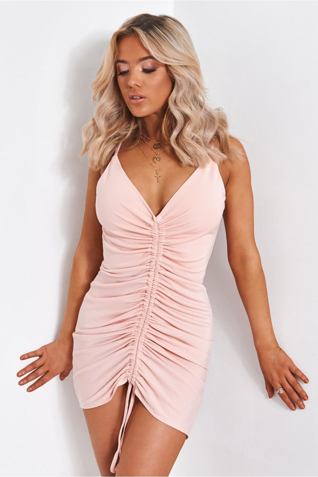 Pia Pink Ruched Backless Midi Dress