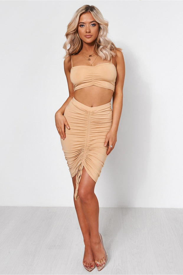 Alia Beige Ruched Co-Ord