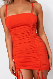 Lilly Orange Ruched Bodycon Dress