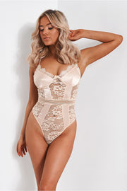Sabine Peach Satin Lace Bodysuit
