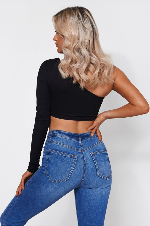 Black One Shoulder Long Sleeved Crop Top