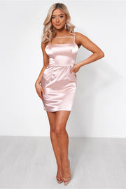 Dalia Pink Satin Bodycon Dress