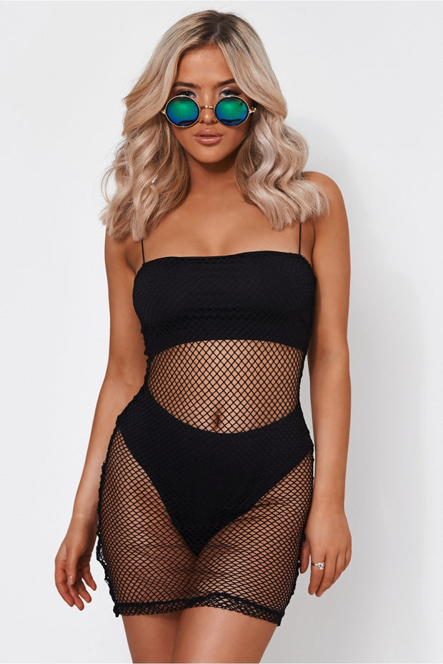 Liana Black Fishnet Bodycon Dress