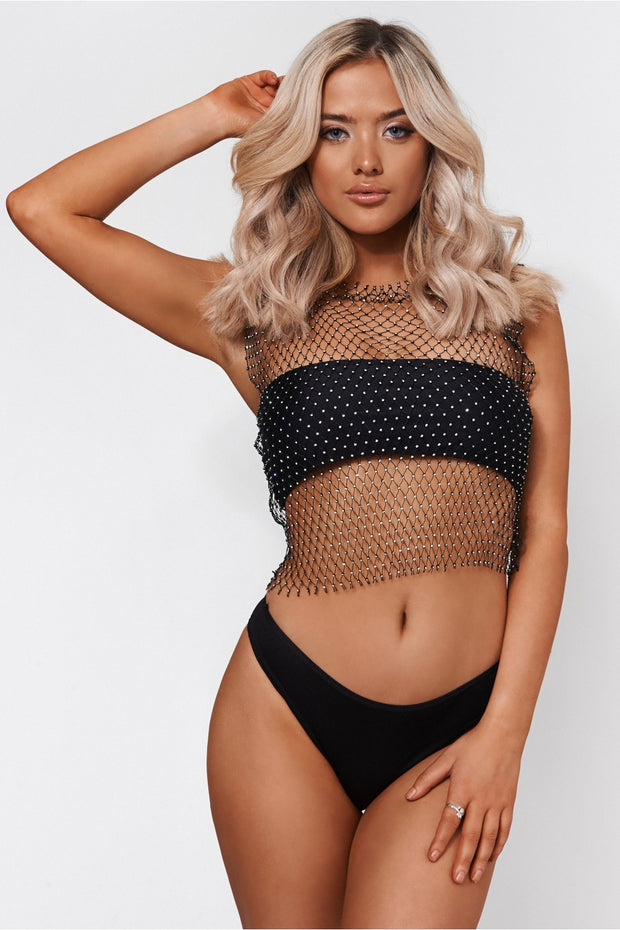 Black Rhinestone Crop Top