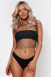 Black Diamante Crop Top