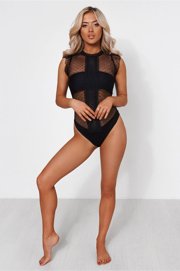 Black Polka Dot Lace Bodysuit