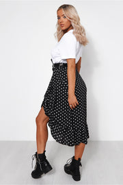 Black Polka Dot Frill Wrap Midi Skirt