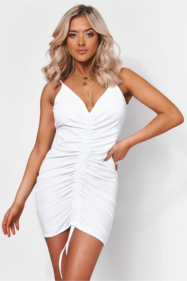 Pia White Ruched Backless Midi Dress