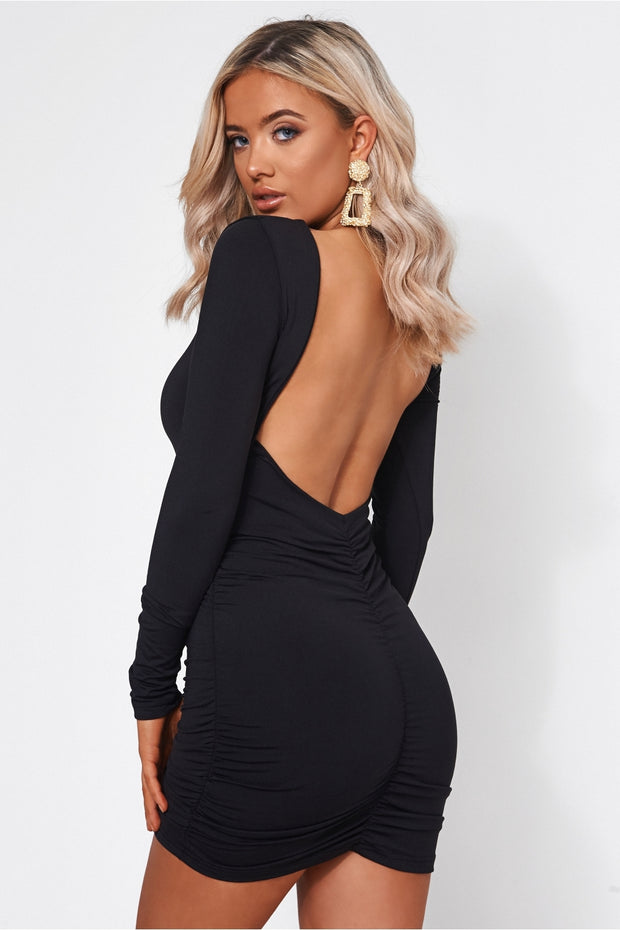 Revi Black Backless Ruched Mini Dress